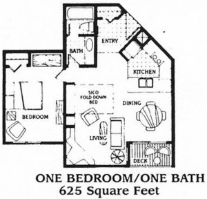 Iron Horse One Bedroom Floor Plan